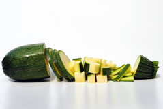 Courgette diced in different ways Stock Photo