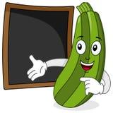 Courgette et tableau noir de recette ou de menu Photos stock