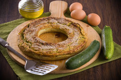 Courgette flan. Image with courgette flan on cutting board royalty free stock photography