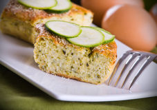 Courgette flan. Close up of a slice of courgette flan royalty free stock images