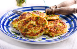 Courgette fritters with chopped dill Stock Photography