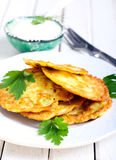 Courgette fritters Stock Photos