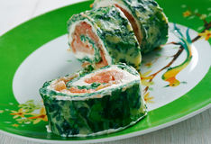 Courgette Herb , Smoked Salmon Roulade Stock Images