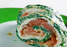 Courgette Herb , Smoked Salmon Roulade Royalty Free Stock Image