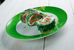 Courgette Herb , Smoked Salmon Roulade Stock Photos