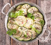 Courgette and herbs Stock Photo