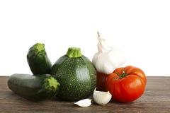 Courgette, Merg Plantaardig Voedingsmiddel, tomaat, knoflook Stock Afbeelding