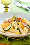 Courgette pasta carbonara Stock Photos