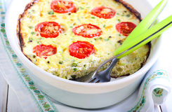 Courgette, peas, cheese and tomato frittata Royalty Free Stock Photo