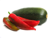 Courgette with red pepper Stock Photo