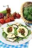 Courgette rolls and filled mozzarella with baguette Royalty Free Stock Images