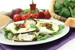 Courgette rolls and filled mozzarella Royalty Free Stock Images