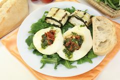 Courgette rolls and stuffed mozzarella Royalty Free Stock Images