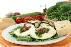 Courgette rolls and stuffed mozzarella Royalty Free Stock Photos