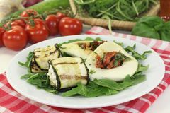 Courgette rolls and stuffed mozzarella Royalty Free Stock Photo