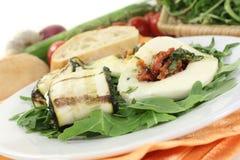 Courgette rolls and stuffed mozzarella Stock Photo