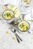 Courgette romige soep stock afbeelding