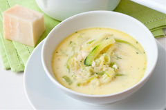 Courgette Sauce. Bowl with a sauce made from courgette, cream cheese and spring onions stock photo