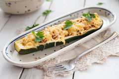 Courgette stuffed with meat and cheese Royalty Free Stock Image