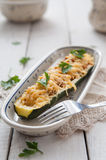 Courgette stuffed with meat and cheese Stock Photos