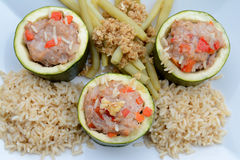 Courgette stuffed with minced meat Stock Image