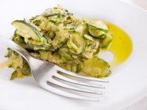 courgettes gotować cebule nafciane oliwne Fotografia Royalty Free