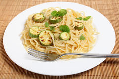 Courgettes with spaghetti and mint Royalty Free Stock Photo