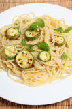 Courgettes with spaghetti and mint vertical Royalty Free Stock Photo