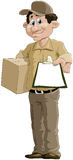 Courier. The courier has brought a parcel Stock Photo