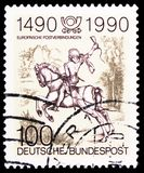 Courier by Albrecht Durer, 500th Anniversary of Regular European Postal Services serie, circa 1990. MOSCOW, RUSSIA - MARCH 30, 2019: A stamp printed in Germany stock photography