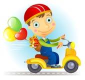 Courier avec des baloons et des cadeaux Illustration de Vecteur