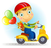 Courier with baloons and gifts