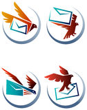 Courier bird. Illustrated logo design set with isolated white background Stock Photography