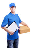 Courier in blue uniform Stock Photos