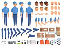 Courier box character animation. Body parts head arms cap hands of warehouse worker faces vector creation kit. Illustration of delivery animation worker man royalty free illustration