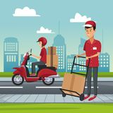 Delivery service at city. Courier with box on handtruck vector illustration graphic design Stock Photos