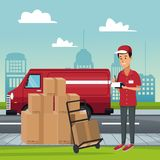 Delivery service at city. Courier with box on handtruck vector illustration graphic design Royalty Free Stock Images