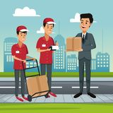 Delivery service at city. Courier with box on handtruck vector illustration graphic design Stock Image
