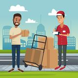 Delivery service at city. Courier with box on handtruck vector illustration graphic design Royalty Free Stock Photos