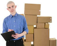 Courier and boxes Stock Photos
