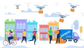Courier Bring Box by Express Delivery. Drone Mail. Man Courier Bring Box by Express Delivery Van Car. Drone Air Modern Logistic System, Fast Shipping Concept vector illustration