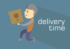 Courier bring the Delivery Box royalty free stock image