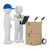 Courier bring package. Courier figure bring package businessman make sign Stock Images