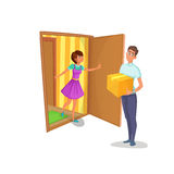 Courier brought package to women at home. Housewife open the door of apartment and meets deliveryman. Courier brought package to women at home. Housewife opens Stock Photography