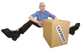 Courier and cardboard box with label Royalty Free Stock Image
