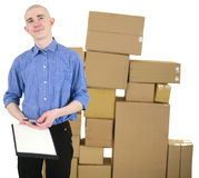 Courier and cardboard boxes Royalty Free Stock Photo