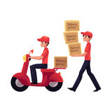 Courier carrying pile of boxes, delivering packages by scooter, motorcycle. Cartoon vector illustration isolated on white background. Full length portrait of Stock Images