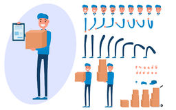 Courier character creation set for animation.. Parts of body template.Delivery man holding boxes and documents. Different emotions, poses and  running, walking Royalty Free Stock Image