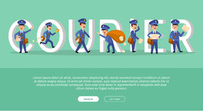 Courier Conceptual Web Banner with Cartoon Postman. Characters. Postal couriers delivering letters and parcels flat vector illustration. Horizontal concept with Royalty Free Stock Image