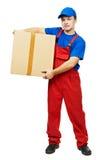 Courier de livreur avec la boîte en carton de colis photo libre de droits